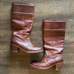 Frye Brown Leather Boots, Size 9.5